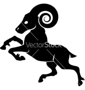 Monochrome vector illustration of a stylised ram